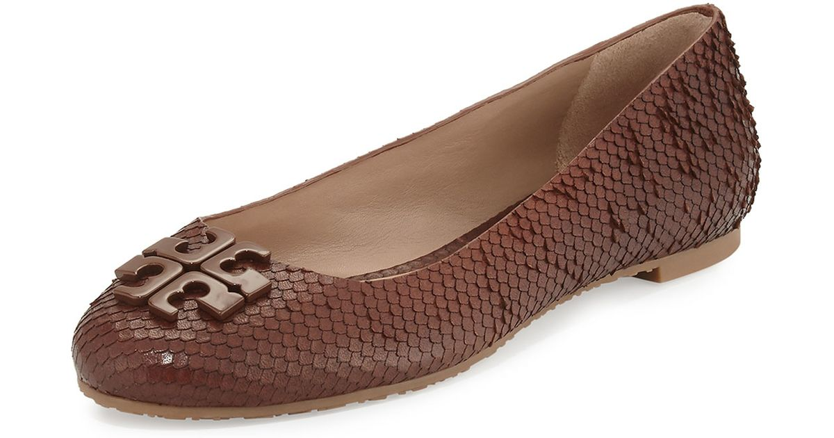3cb57688702a Tory Burch Lowell 2 Snake-Smbossed Ballet Flats in Brown - Lyst
