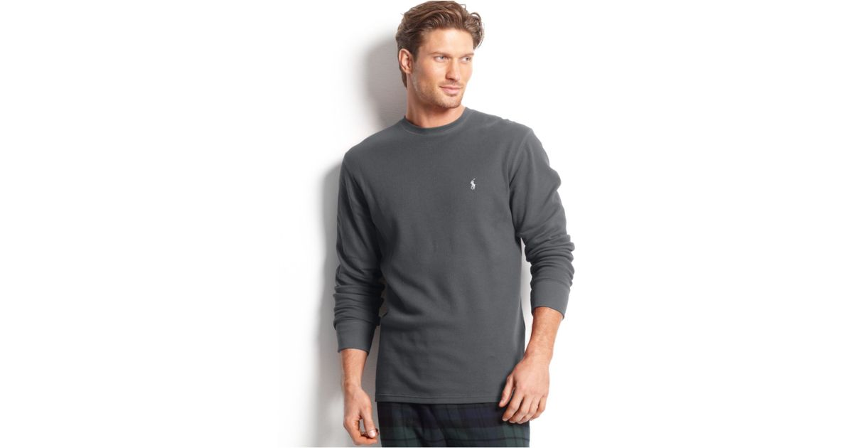 618b21bc93b Lyst - Polo Ralph Lauren Big And Tall Long Sleeve Crew Neck Waffle Thermal  Top in Gray for Men