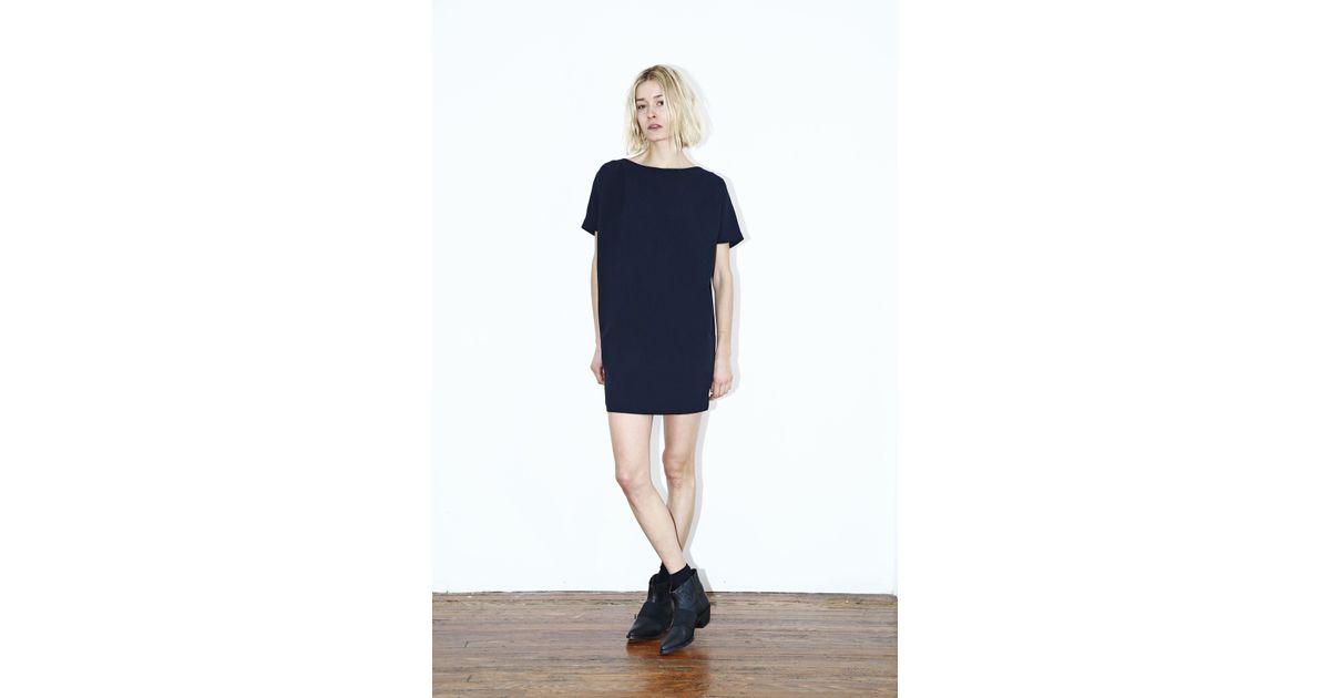 kaarem black blue open back dress in blue lyst