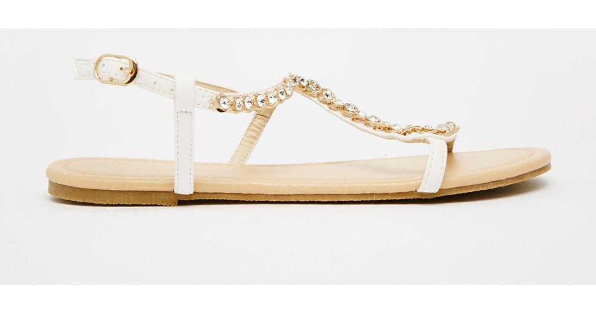 Asos Flirty Embellished Flat Sandals In Gold (Whitegold ...