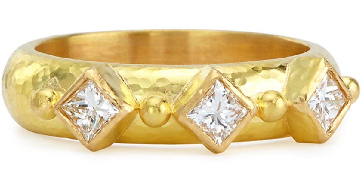 Elizabeth Locke 19k Gold & Harlequin Diamond Stack Ring XwT1Bj