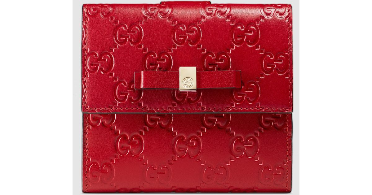cbeca91dee685a Gucci Bow Signature Wallet in Red - Lyst