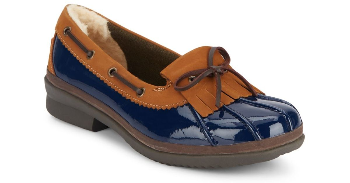 Ugg Haylie Patent Leather Loafers In Blue Lyst