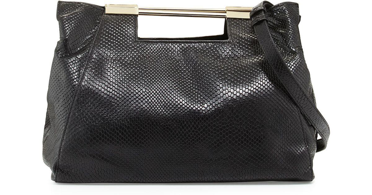 f094b4ae613b Lyst - Halston Lizard-Embossed Leather Satchel Bag in Black