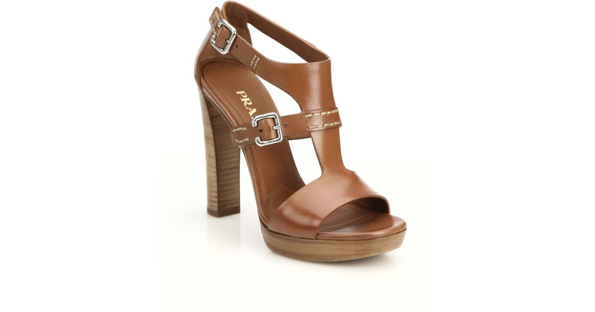1decd10cb10 Lyst - Prada Leather Stacked-heel Sandals in Brown