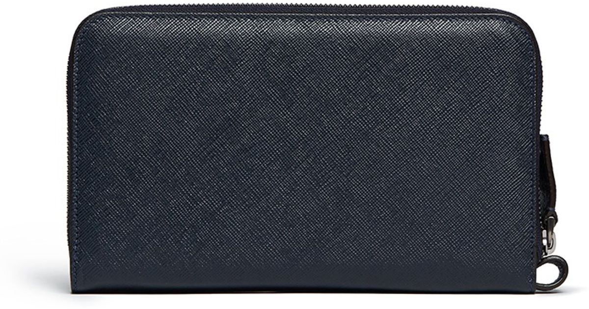 prada saffiano leather passport holder card case