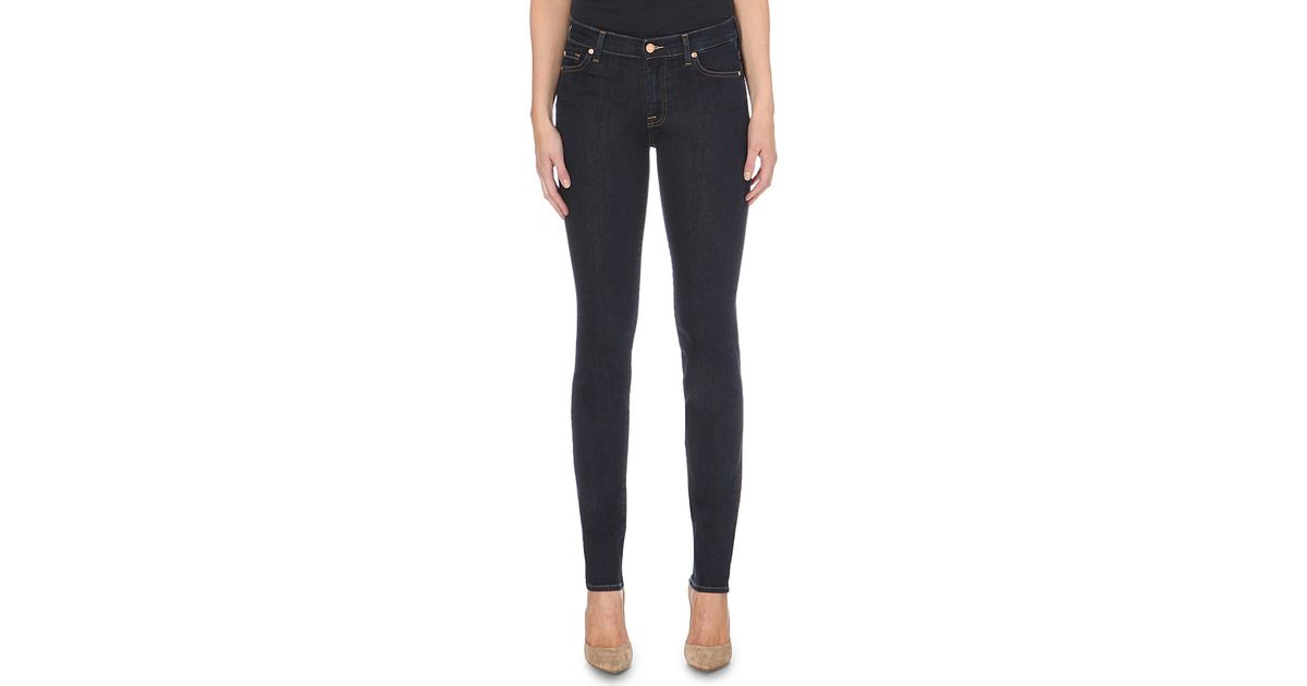 Lyst - 7 For All Mankind Rozie Slim Illusion Super-skinny High-rise Jeans  in Black 56633d7b7
