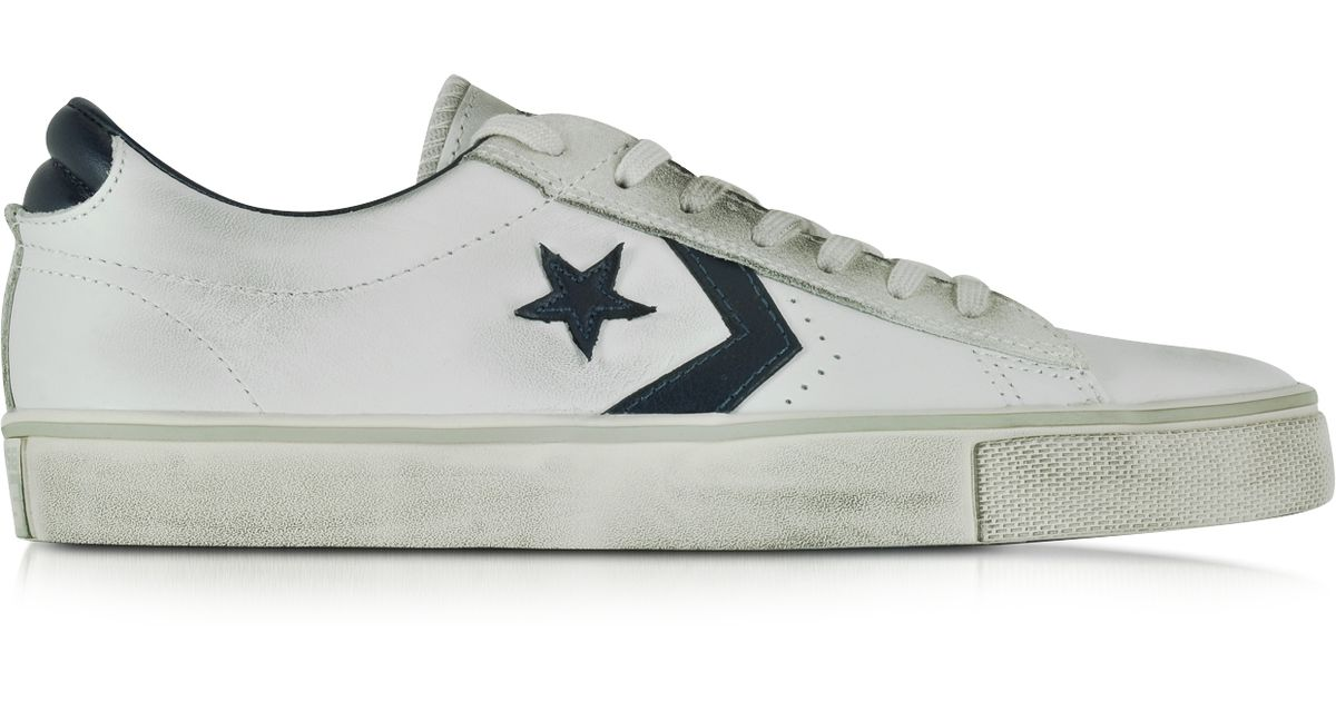 9c1a9f00ed Converse Pro Leather Vulc Ox White And Navy Blue Distressed Leather Unisex  Sneaker in White for Men - Lyst