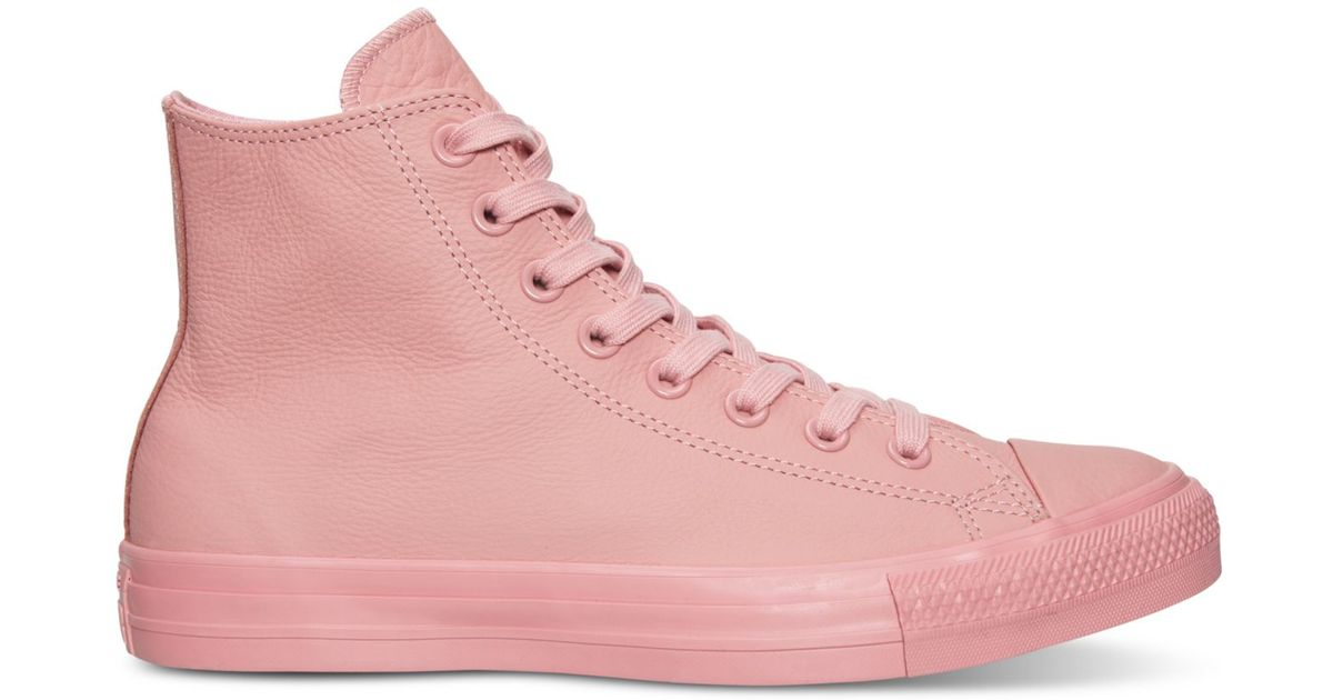 6e6ed495b556 Lyst - Converse Women s Chuck Taylor Hi Pastel Leather Casual Sneakers From  Finish Line in Pink