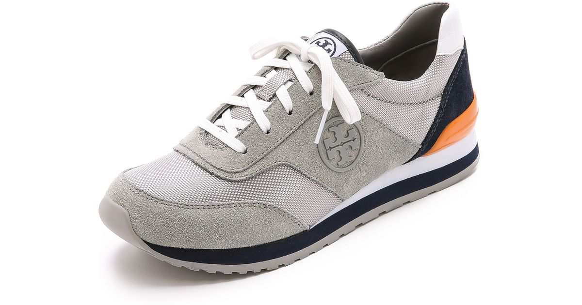 c44d8bc0b8a Lyst - Tory Burch Sawtooth Logo Trainer Sneaker in Gray