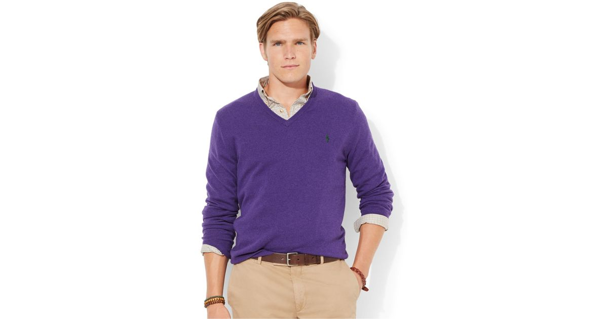 Polo ralph lauren Loryelle Merino Wool V-Neck Sweater in Purple ...