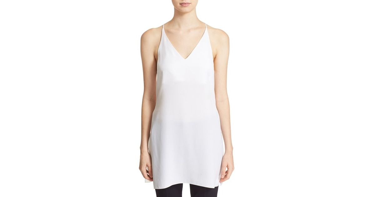 ba7ec079d6 Lyst - Theory 'awenna' Split Hem Silk Tank in White