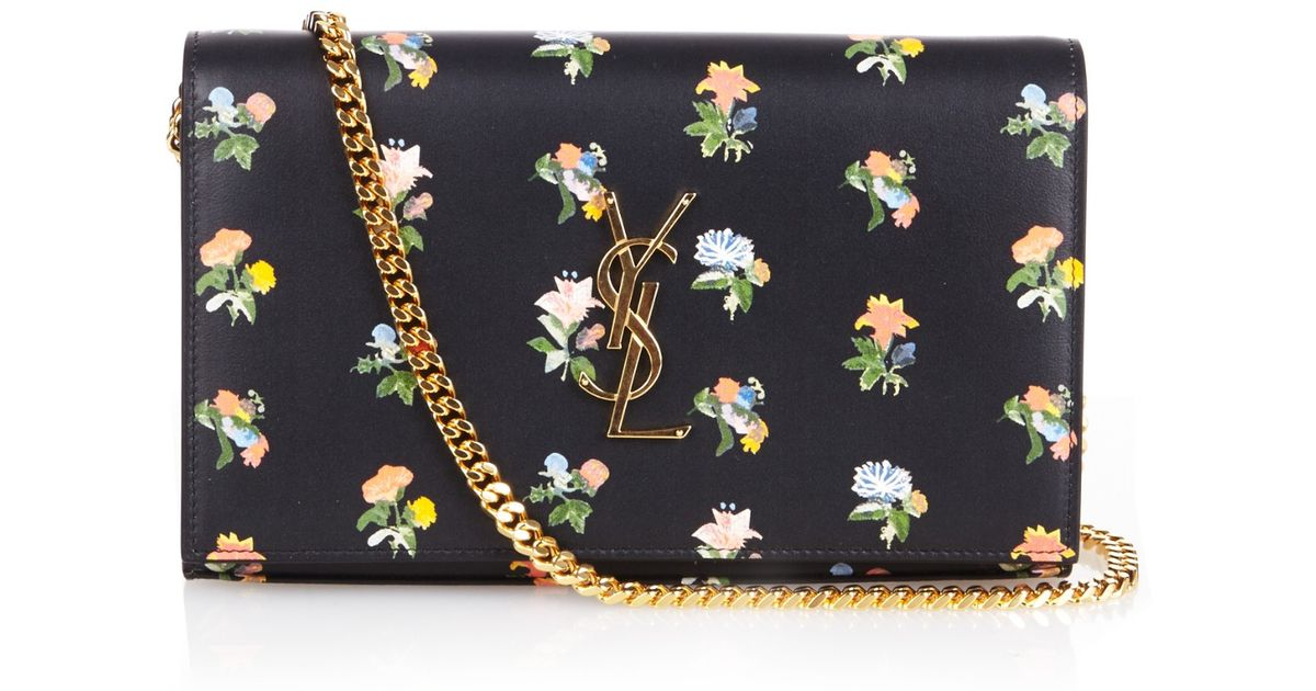 yves saint laurent chyc large patent flap shoulder bag - monogram prairie flower printed wallet-on-chain, black multi