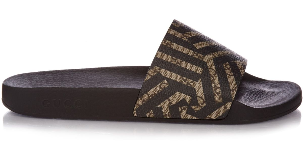 214c6cf9533d3a Lyst - Gucci Caleido-print Pool Slides in Brown for Men