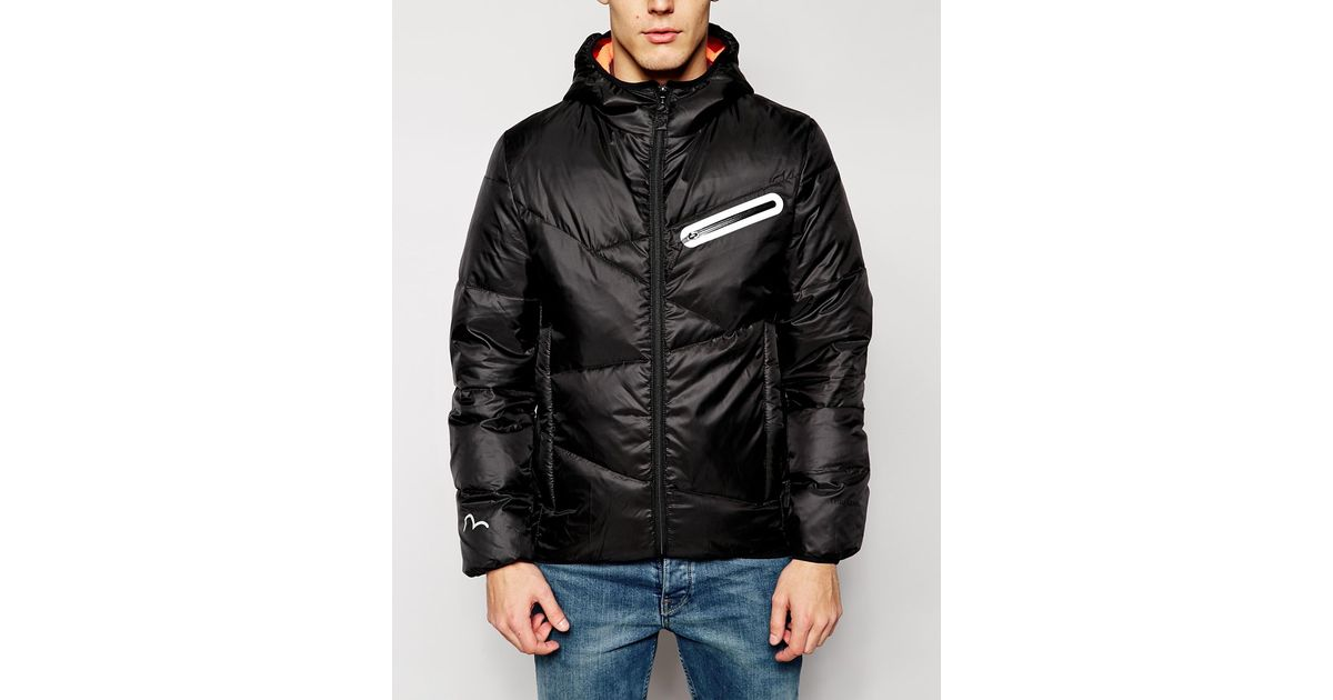9851e7e819f7 Lyst - Evisu Genes Quilted Hooded Jacket Packable With Inner Travel Straps  in Black for Men