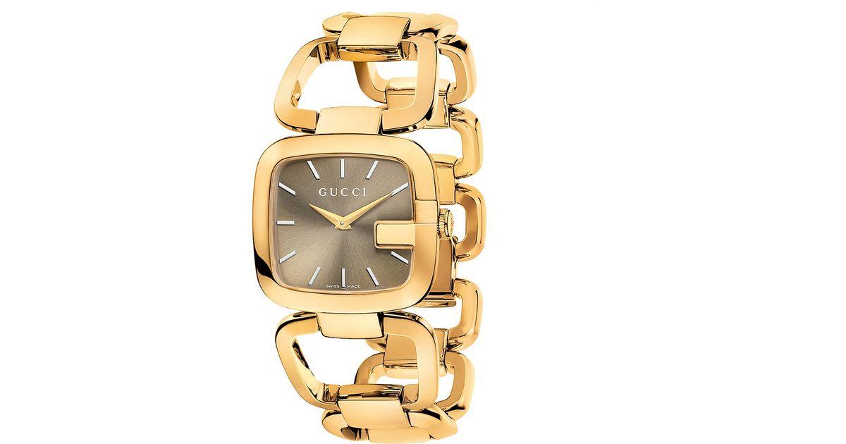 9cfc79a5d9d Lyst Gucci Ya125408 Women S G Gold Plated Bracelet Strap Watch In