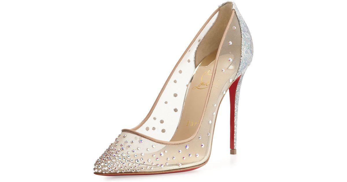 official photos d1552 eae19 Christian Louboutin - Natural Follies Strass 100mm Red Sole Pump - Lyst