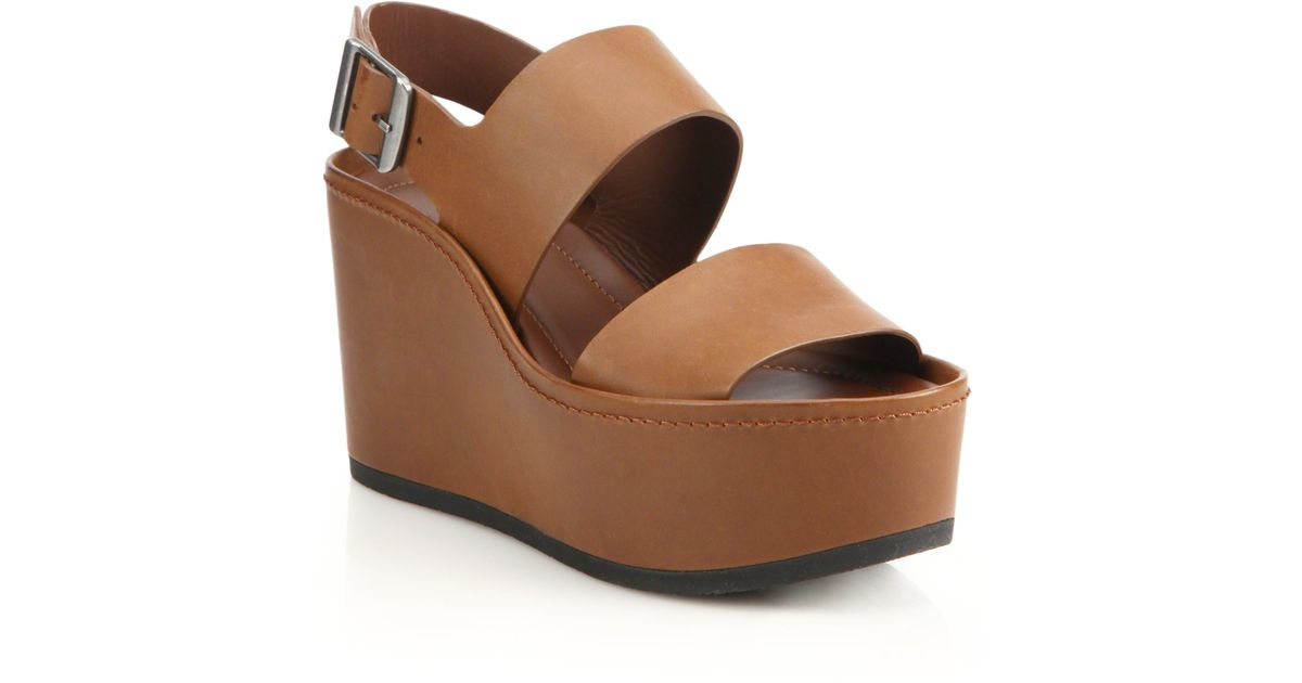 6ff3060b71c Lyst - Vince Idalia Leather Platform Wedge Sandals in Brown