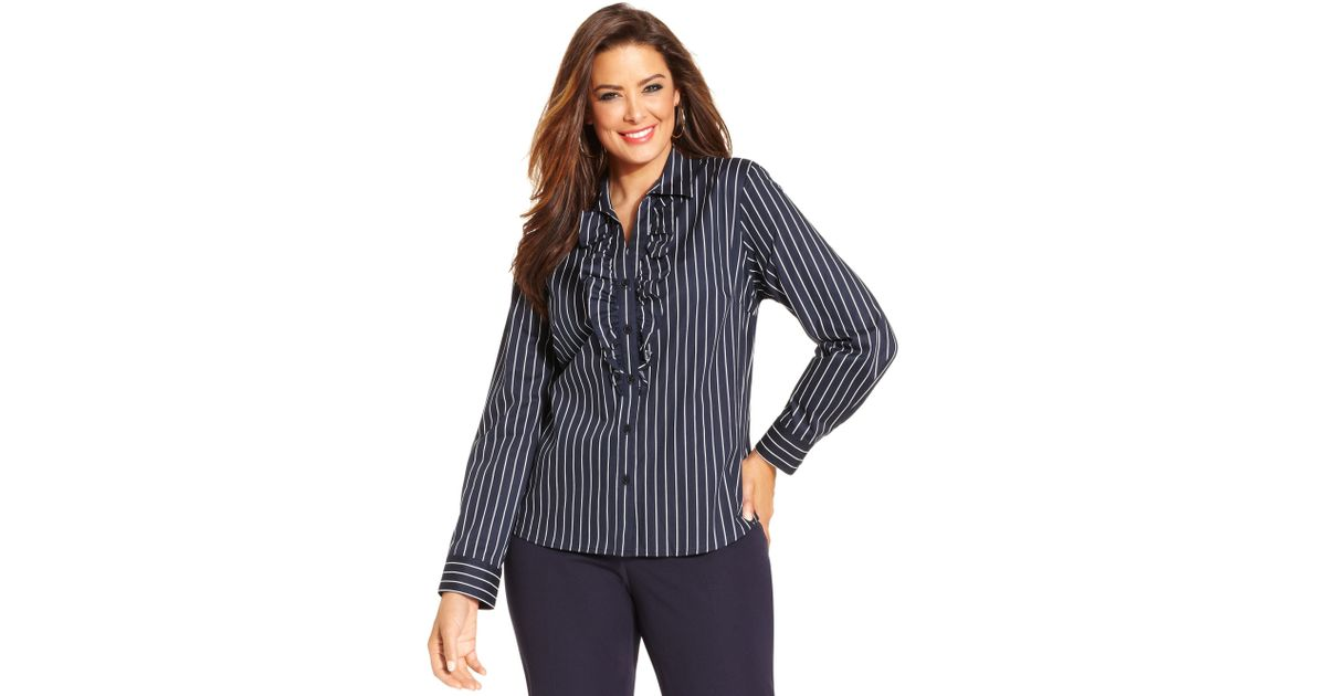 e7a3e8ec0fc Lyst - Jones New York Signature Plus Size Longsleeve Striped Ruffle Shirt  in Blue