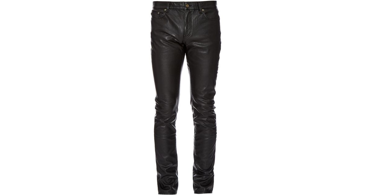 05ae73970aa Saint Laurent Slim-fit Faux-leather Trousers in Black for Men - Lyst