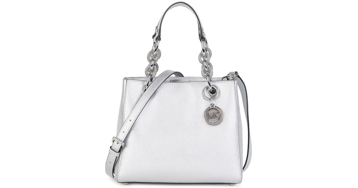 c5a7e2f725e7 Michael Kors Cynthia Small Silver Leather Shoulder Bag in White - Lyst
