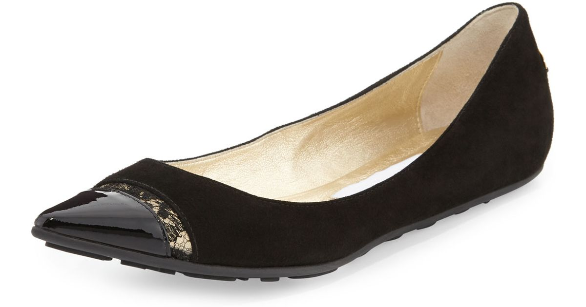 jimmy choo ginny pointedtoe ballerina flat with lace black in black lyst. Black Bedroom Furniture Sets. Home Design Ideas