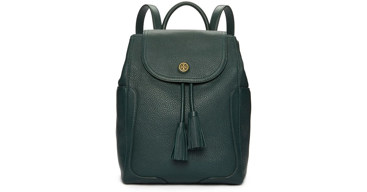 ad293234952 Tory Burch Frances Flap Backpack in Green - Lyst