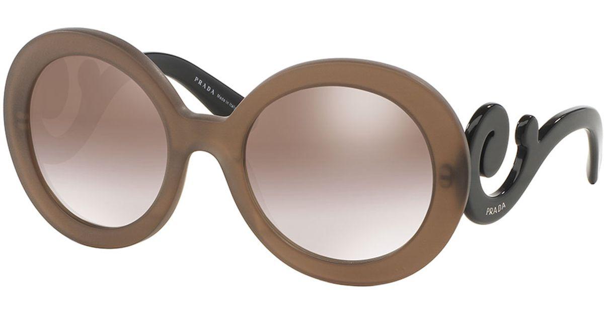 afa561ac95 ... low cost lyst prada baroque swirl arm sunglasses in brown 91e28 05c55