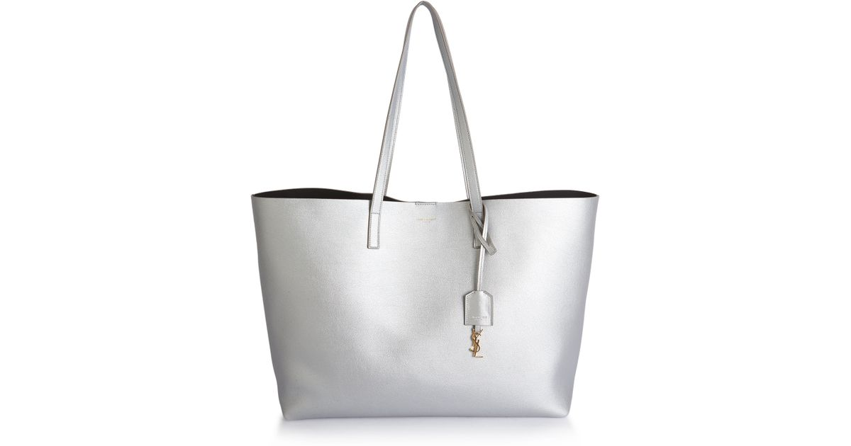 35b834f66c Saint Laurent Large Smooth Leather Shopping Tote in Metallic - Lyst