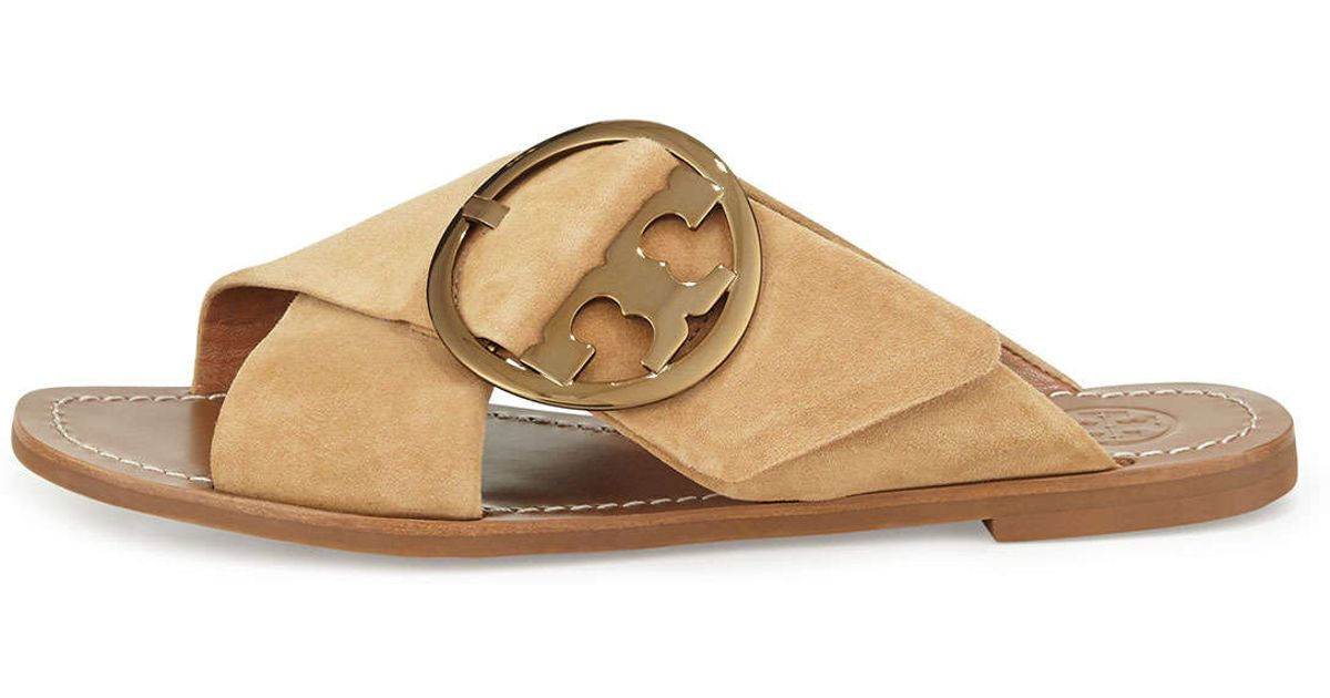 4ed81f9dbd6 Lyst - Tory Burch Grant Buckled Suede Sandals in Natural