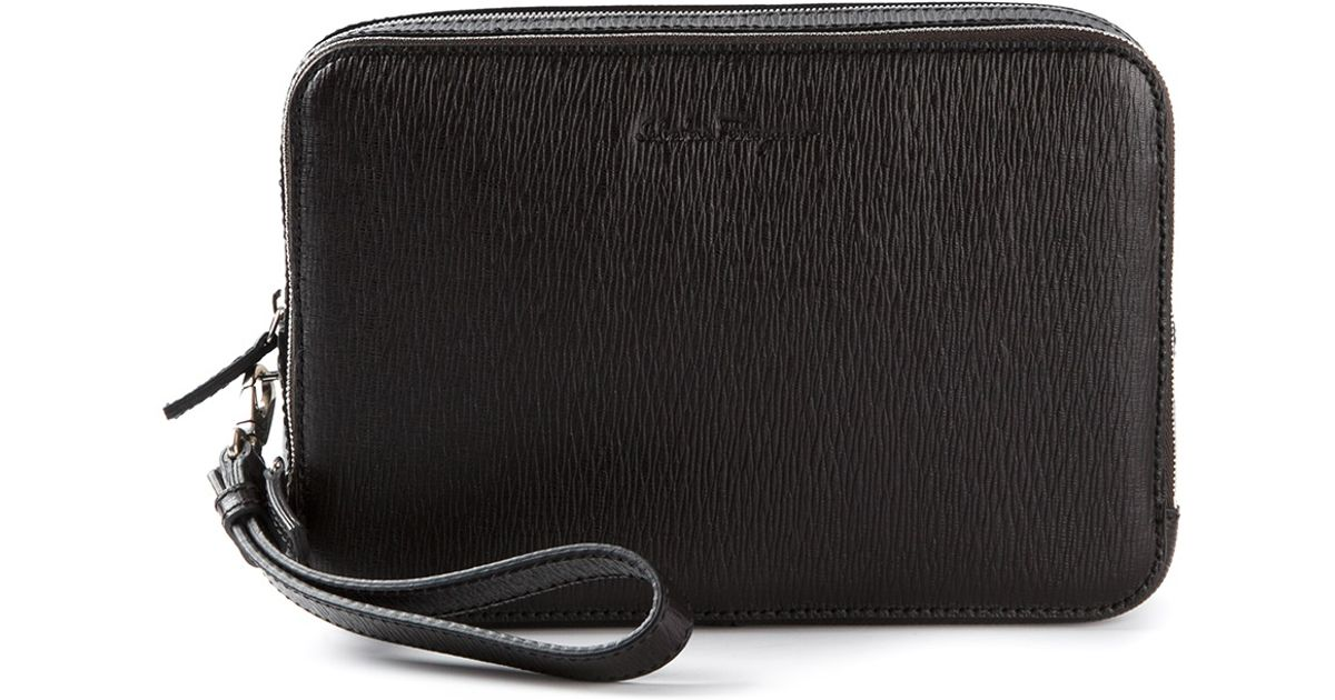 Lyst - Ferragamo Textured Clutch Bag in Black for Men fb075247c8465