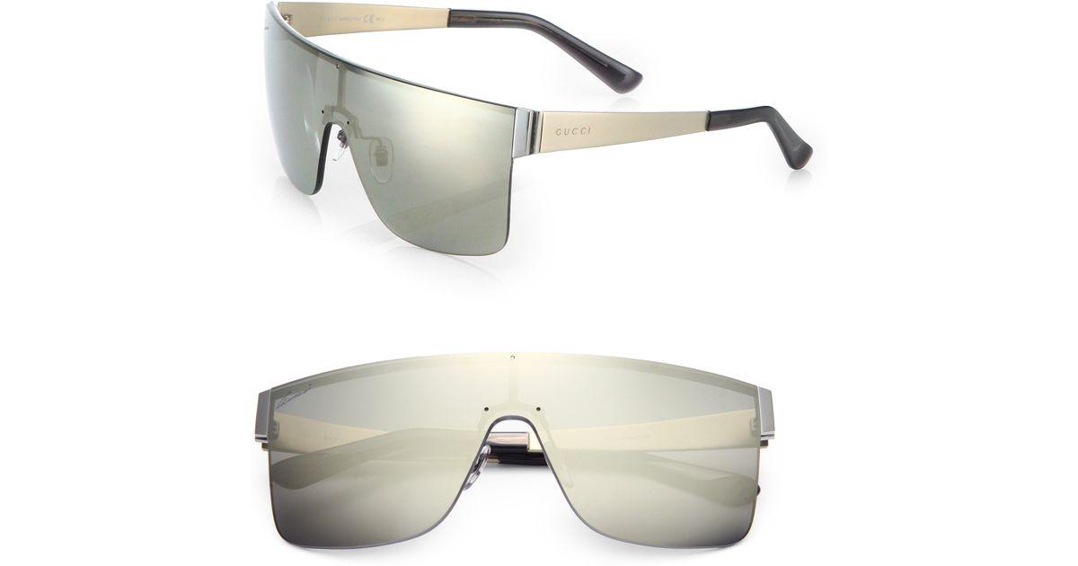 4c570172c Gucci Rimless Shield 99mm Square Sunglasses in Gray for Men - Lyst