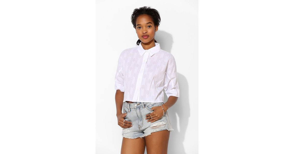 e13f726d2b23e Lyst - BDG Embroidered Cropped Oxford Shirt in White