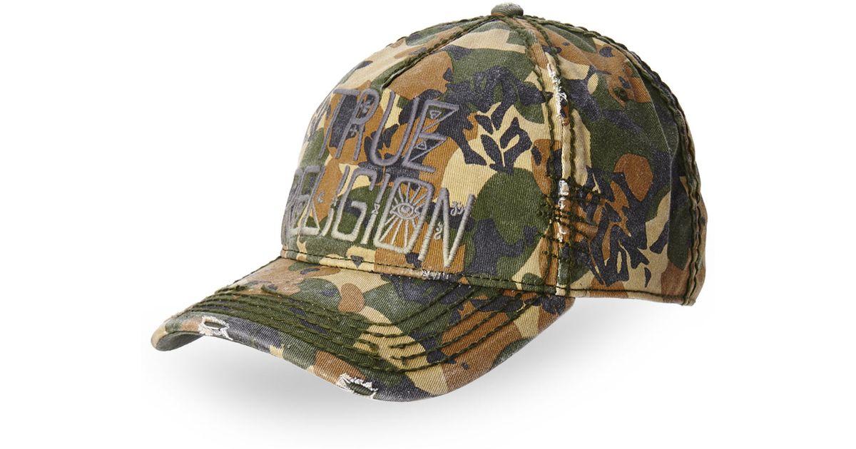 Lyst - True Religion Camouflage Logo Baseball Cap in Green for Men 69ec5c11c39