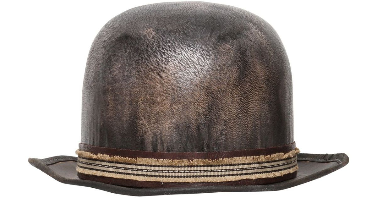 b5d3946b407 Lyst - Move Vintage Leather Bowler Hat in Gray for Men