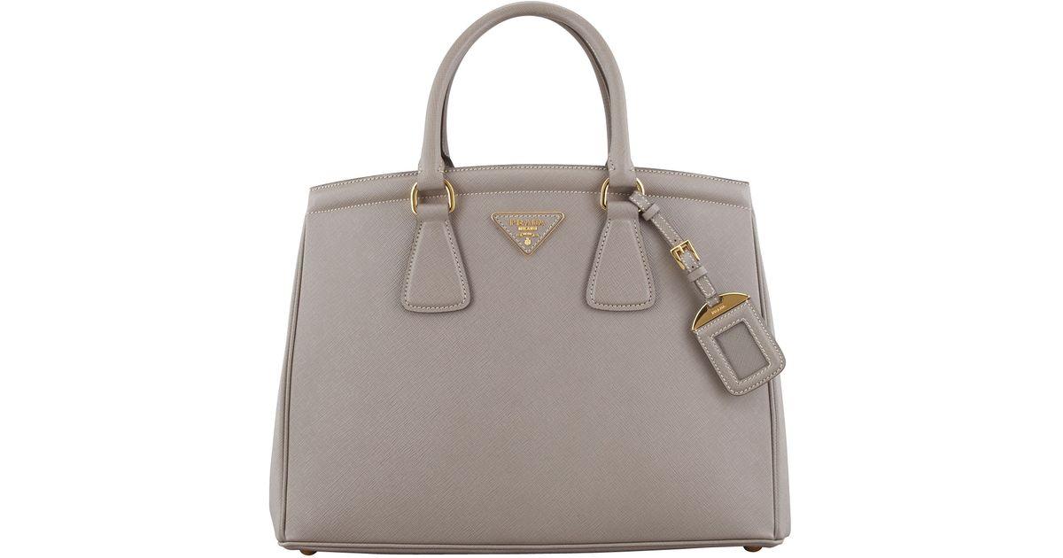 56669b2fc9e8 Lyst - Prada Saffiano Parabole Tote Bag in Gray