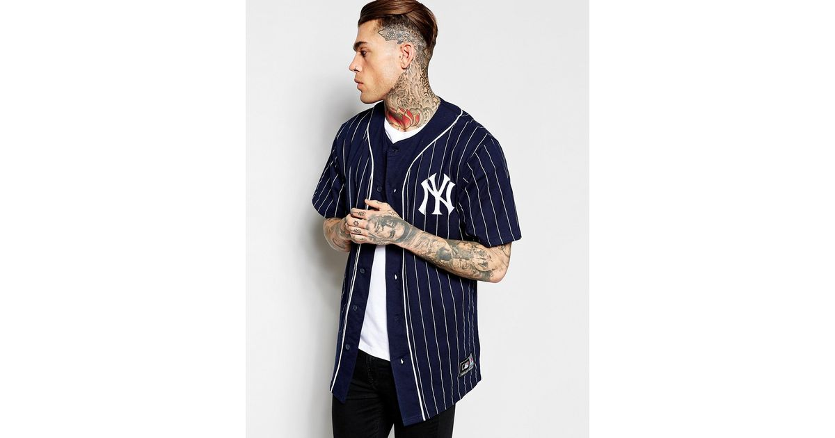 0638163ef31b5 ... promo code lyst majestic new york yankees longline baseball jersey  exclusive to asos in blue for