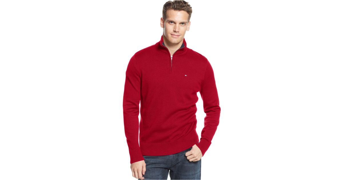Tommy hilfiger Mclaughlan Half-Zip Sweater in Red for Men | Lyst
