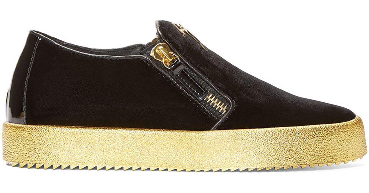 c6a8d16a5d01 Lyst - Giuseppe Zanotti Black   Gold Velour London Sneakers in Metallic for  Men