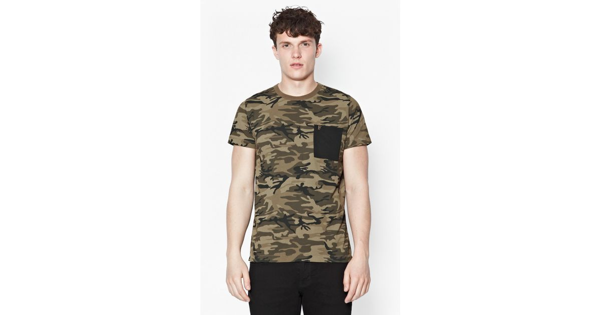 fd7a278d1fa Lyst - French Connection Military Camo Print T-Shirt for Men