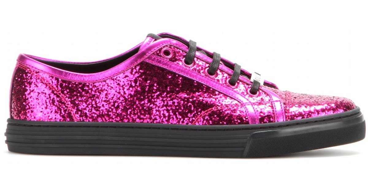 72801233ed0 Gucci Glitter Sneakers in Pink - Lyst