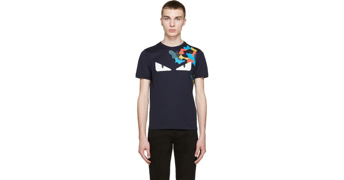 8233c7131 Fendi Navy Monster Eyes T-shirt in Blue for Men - Lyst