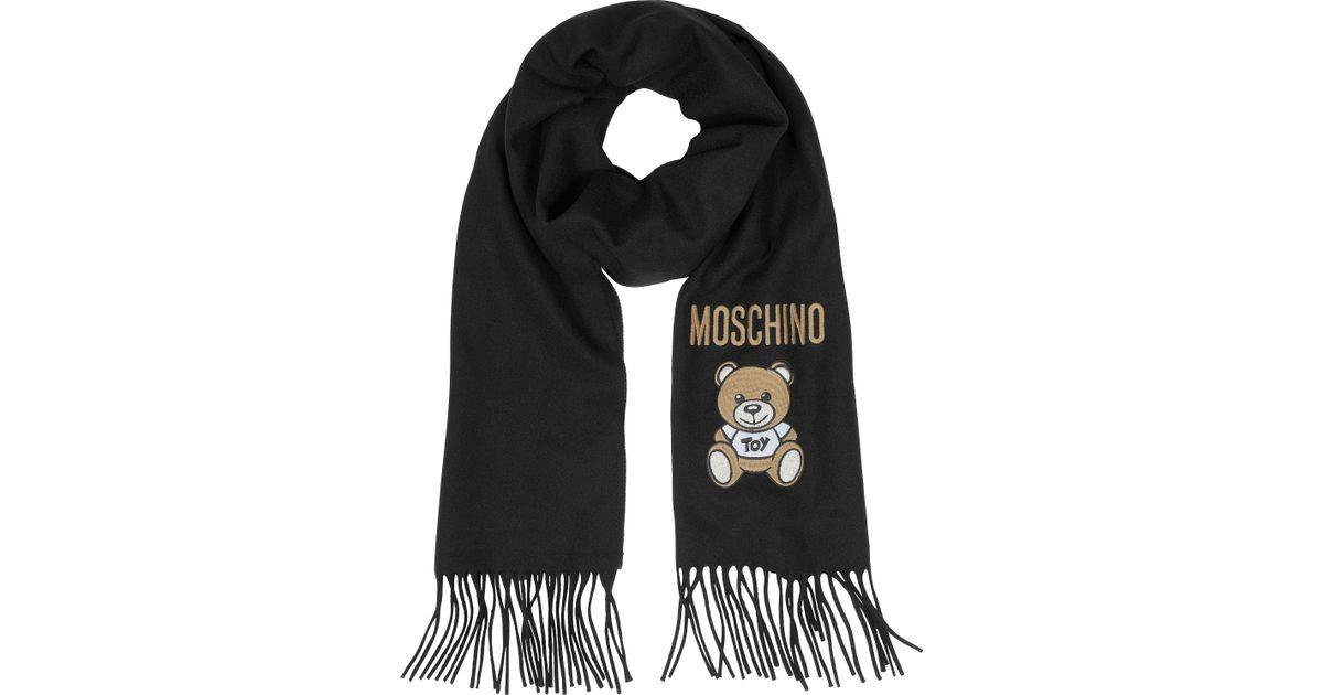 moschino teddy solid fringed wool scarf in black