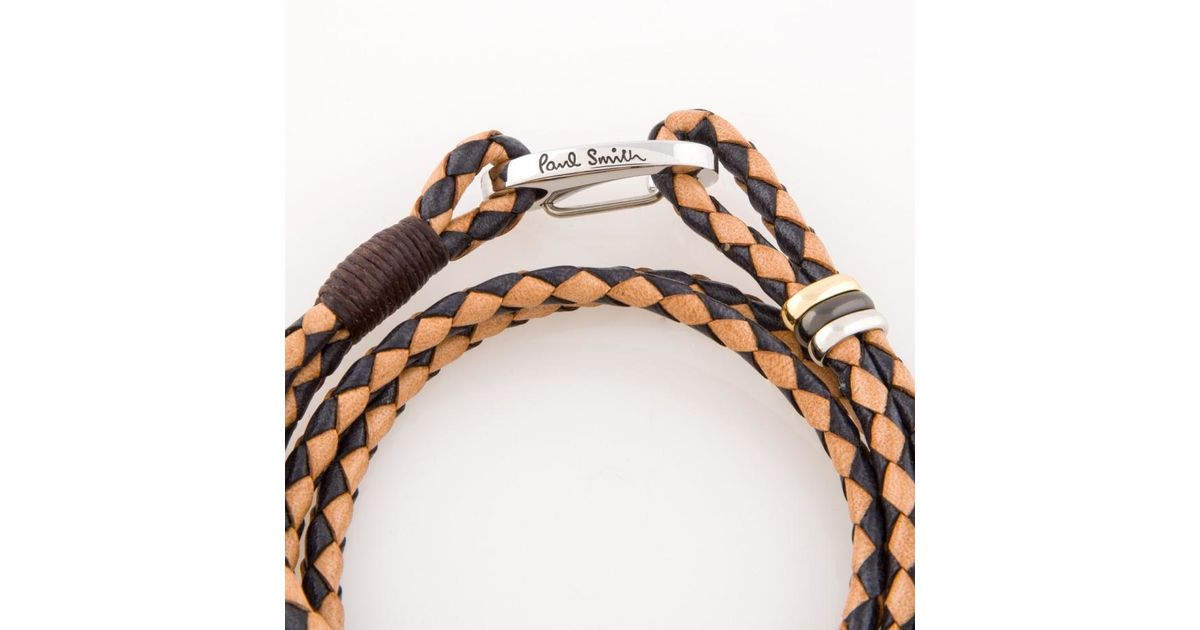 paul smith men 39 s black and taupe leather wrap bracelet in