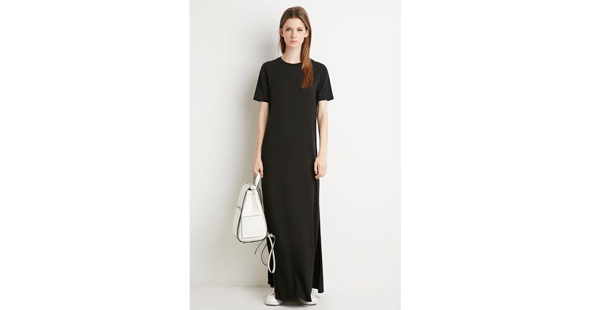 3638af62bf0 Forever 21 Side-slit T-shirt Maxi Dress in Black - Lyst