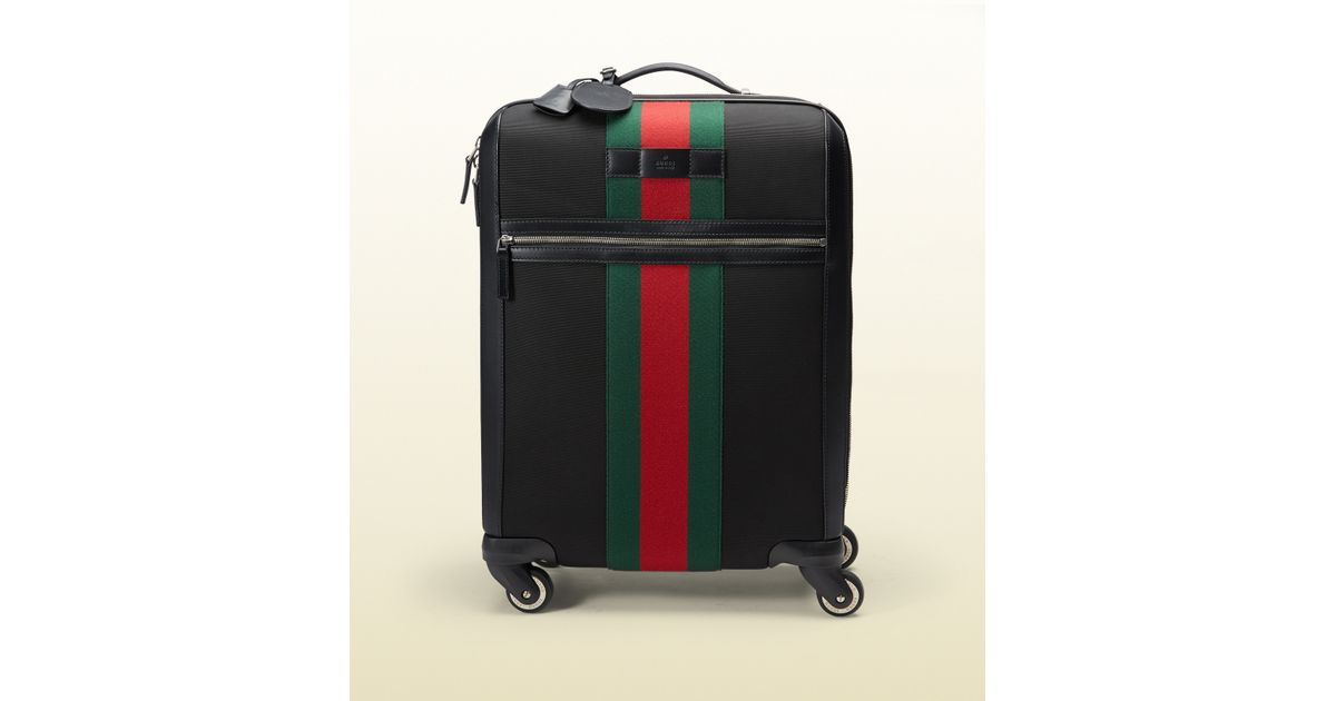 gucci techno fabric wheeled carryon suitcase in black lyst
