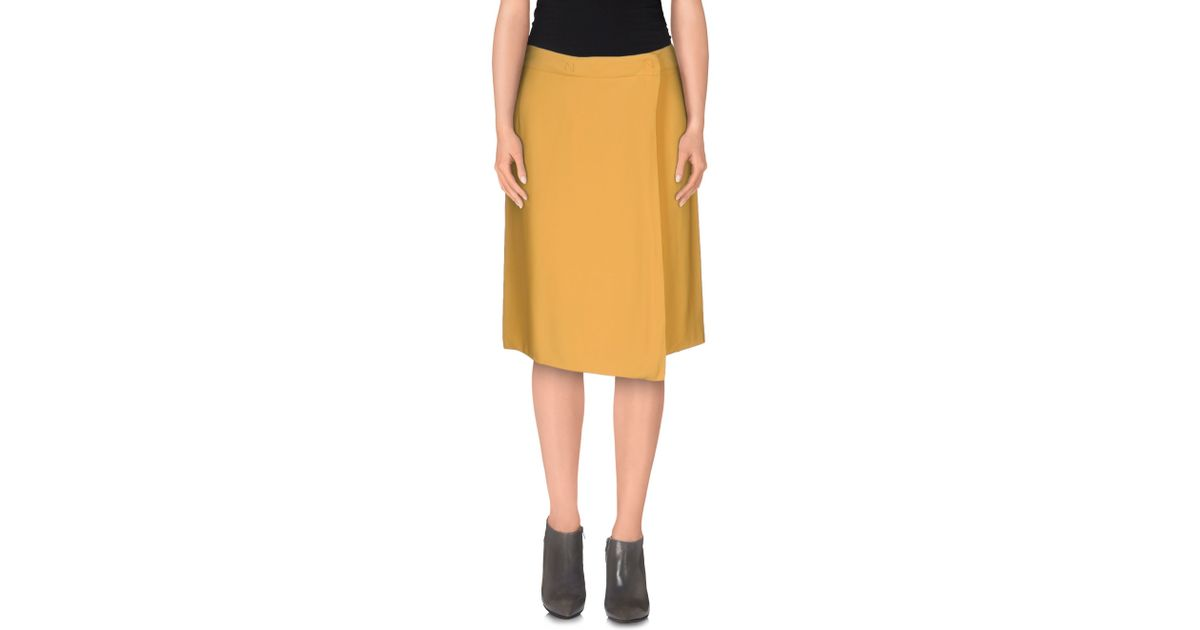 normaluisa knee length skirt in yellow lyst