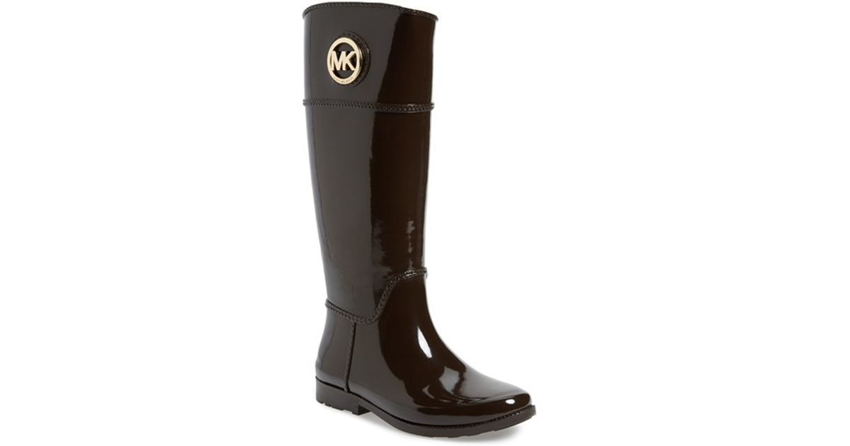 Lyst Michael Michael Kors Stockard Rain Boots In Brown