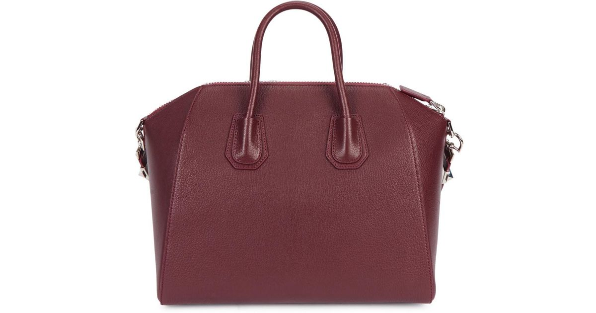 70886865bed Givenchy Antigona Medium Burgundy Leather Tote in Purple - Lyst