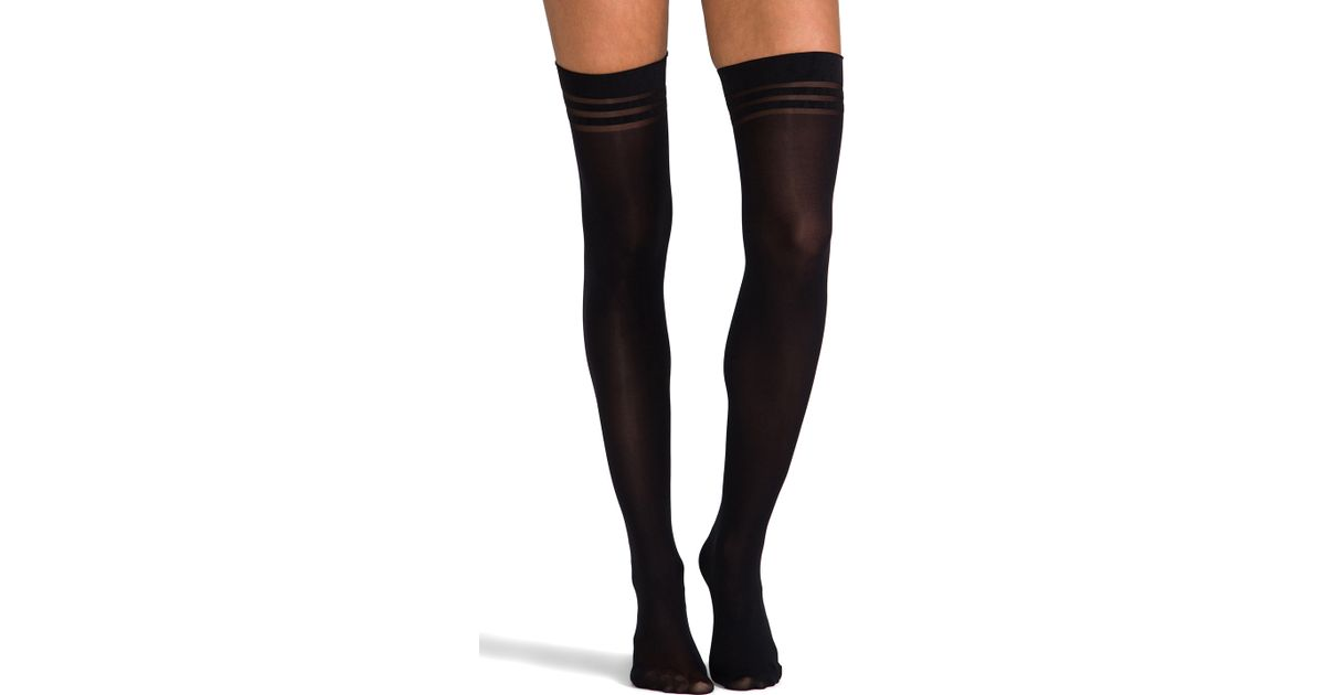 09c2a24b6cea1 Lyst - Pretty Polly Super Lovely Basics Opaque Thigh High Tights in Black